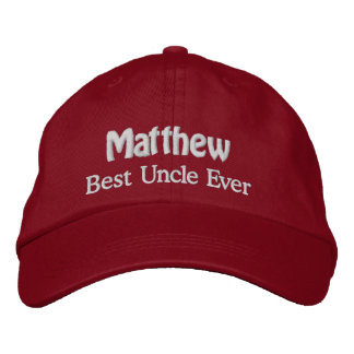 Best UNCLE Custom Name V02 RED with WHITE Thread Baseball Cap