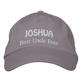 Best UNCLE Custom Name V03 GRAY with WHITE Thread Embroidered Baseball Cap