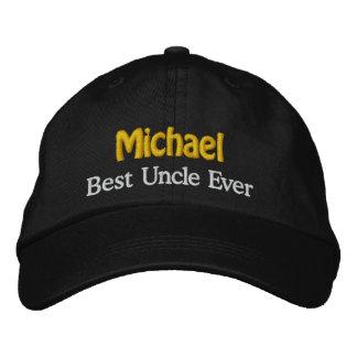 Best UNCLE Custom Name V2 BLACK  with GOLD WHITE Baseball Cap