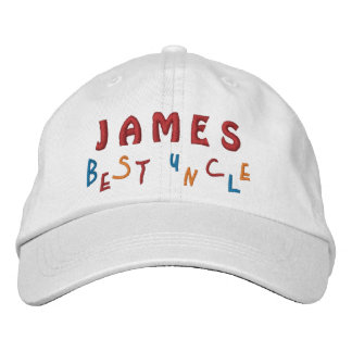 BEST UNCLE Custom Name WHITE A02 Embroidered Baseball Cap