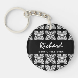 Best UNCLE Ever Black and White Geometric Pattern Acrylic Key Chain