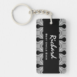 Best UNCLE Ever Black and White Geometric Pattern Keychain