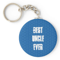 Best UNCLE Ever Blue Star Pattern Gift Idea Keychain