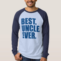 Men's Canvas Long Sleeve Raglan T-Shirt with Best. Uncle. Ever. (blue) design
