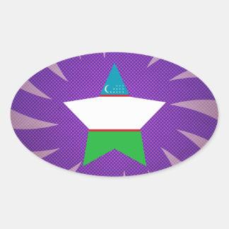 Best Uzbekistan Flag Design Oval Sticker