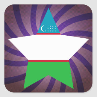 Best Uzbekistan Flag Design Square Sticker