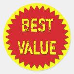 BEST VALUE RETAIL SALES LABEL ROUND STICKERS