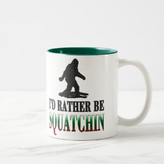 *BEST VERSION* I'd Rather be Squatchin, Sasquatch Two-Tone Coffee Mug