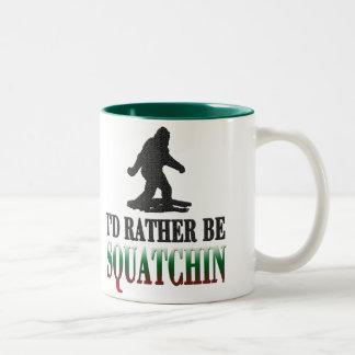 *BEST VERSION* I'd Rather be Squatchin, Sasquatch Two-Tone Coffee Mug
