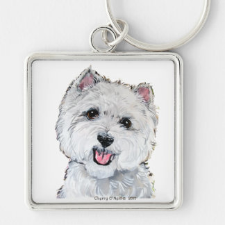 Best Westie! Silver-Colored Square Keychain