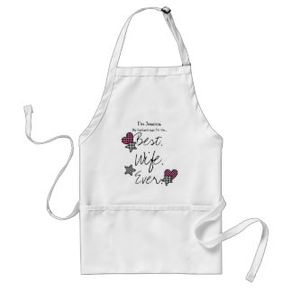 Best Wife Ever Pink White Stars and Hearts Adult Apron