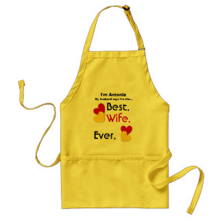 Best Wife Ever Red and Gold Hearts v03 Adult Apron