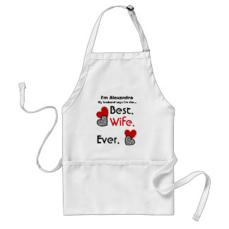 Best Wife Ever Red and Zebra Hearts v02 Adult Apron