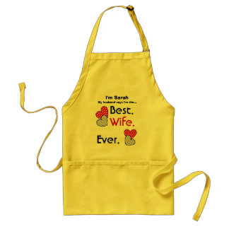 Best Wife Ever Red Polka Dot Hearts v4D Adult Apron
