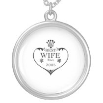 Best Wife Since 2005 12th wedding anniversary Silver Plated Necklace