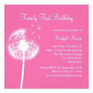 Best Wishes 21st Birthday Invitation fuchsia