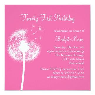 Best Wishes 21st Birthday Invitation (fuchsia)