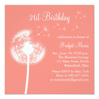 Best Wishes 21st Birthday Invitation in Coral