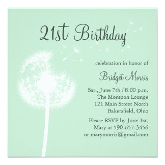 Best Wishes 21st Birthday Invitation in Mint