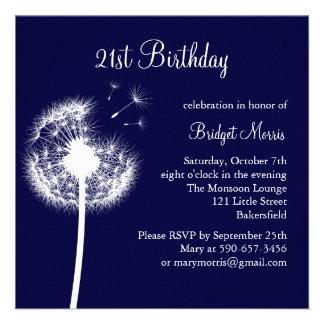 Best Wishes 21st Birthday Invitation navy