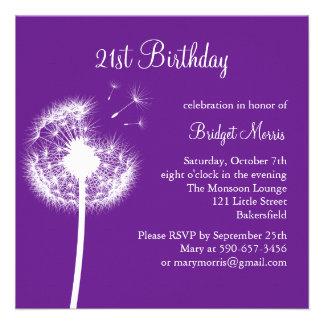 Best Wishes 21st Birthday Invitation purple