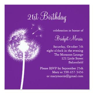 Best Wishes 21st Birthday Invitation (purple)