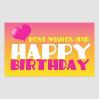 BEST wishes and HAPPY Birthday! cute! Rectangular Sticker