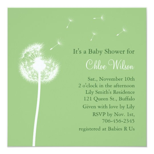 Best Wishes Baby Shower Invitation Green Zazzle
