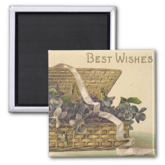 Best Wishes Basket of Flowers 2 Inch Square Magnet