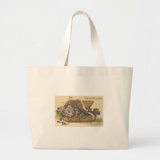Best Wishes Basket of Flowers Jumbo Tote Bag