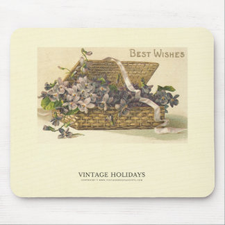 Best Wishes Basket of Flowers Mouse Pad