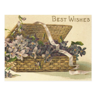 Best Wishes Basket of Flowers Postcard