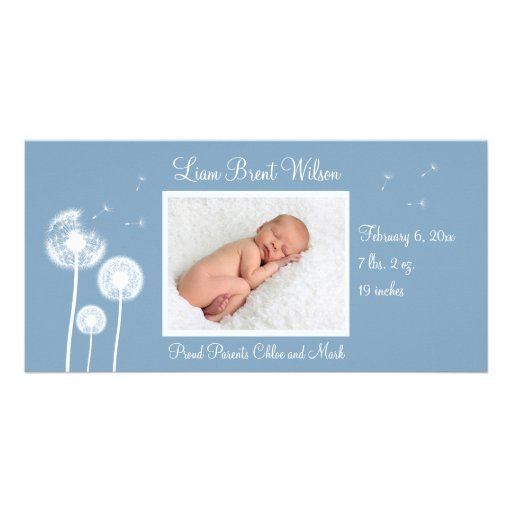 Best Wishes !!! Birth Announcement 2 (blue) Personalized Photo Card