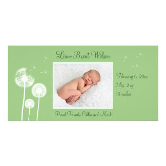 Best Wishes !!! Birth Announcement 2 (green) Photo Card