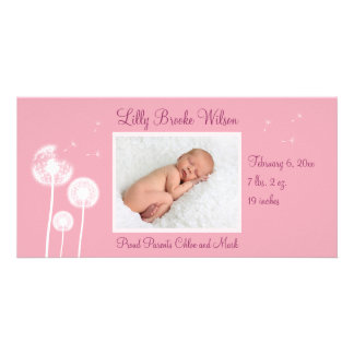 Best Wishes !!! Birth Announcement 2 (pink) Personalized Photo Card