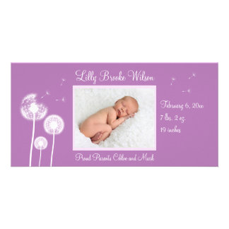 Best Wishes Birth Announcement 2 purple Customized Photo Card