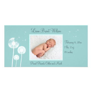 Best Wishes !!! Birth Announcement 2 (turquoise) Customized Photo Card