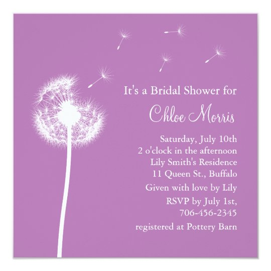 best wishes bridal shower invitation purple