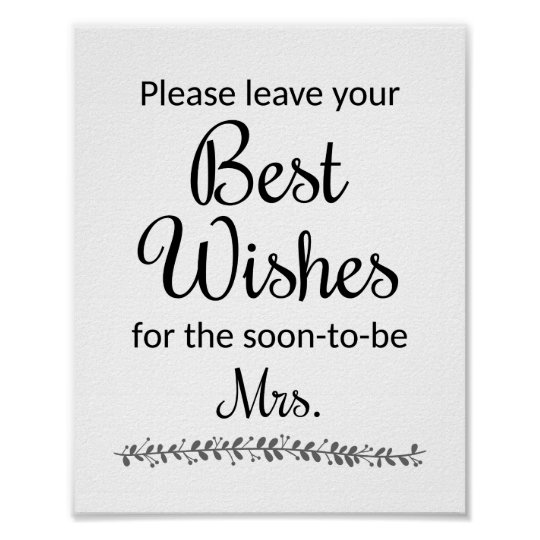 best wishes bridal shower sign rochester