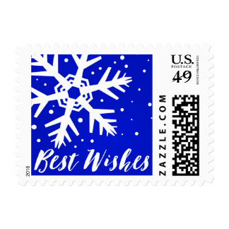 Best Wishes Chunky Funky Snowflake | cobalt blue Postage