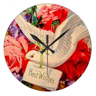 Best Wishes Doves Roses Vintage Art Modern Style Round Wallclocks