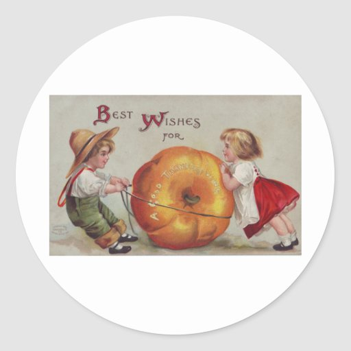 Best Wishes for a Good Thanksgiving Classic Round Sticker