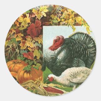 Best Wishes for a Happy Thanksgiving Turkeys Round Stickers