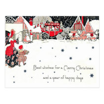 Best wishes for a merry Christmas, vintage Postcard