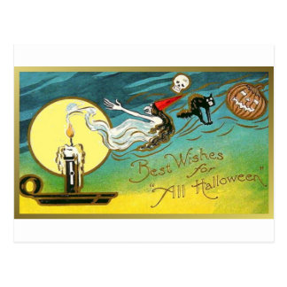 Best Wishes for All Halloween Postcard