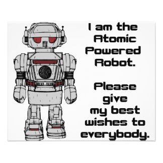 """Best Wishes From Atomic Powered Toy Robot 4.5"""" X 5.6"""" Flyer"""