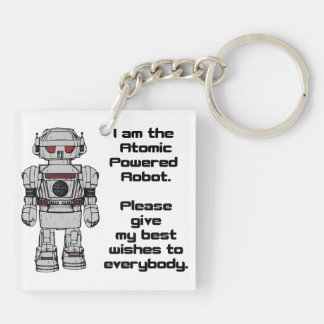Best Wishes From Atomic Powered Toy Robot Keychain