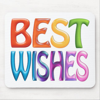 BEST WISHES fun colourful 3d-like logo Mouse Pads