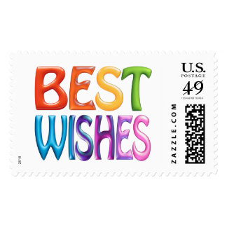 BEST WISHES fun colourful 3d-like stamp