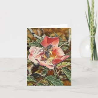 Best Wishes Honey Bee Pastel Art Greeting Card